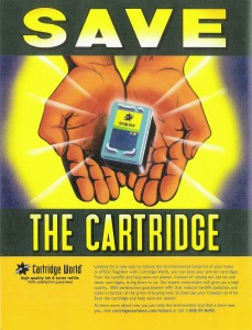 Led development of environmental benefit focused print ads for Cartridge World