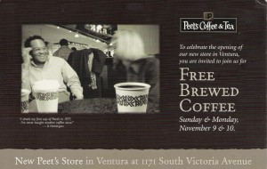 Led development of grand opening direct mail for Peet's