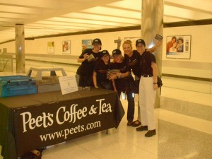 Peet's team handing out gift cards to BART riders